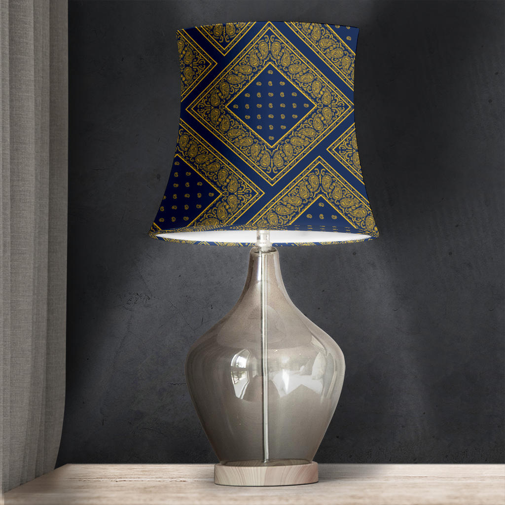 Navy and Gold Bandana Drum Lampshade