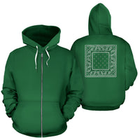 Green Bandana Zip Up Hoodie