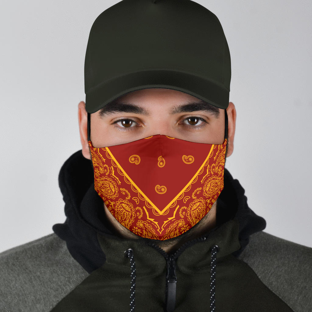 red and gold bandana face masks