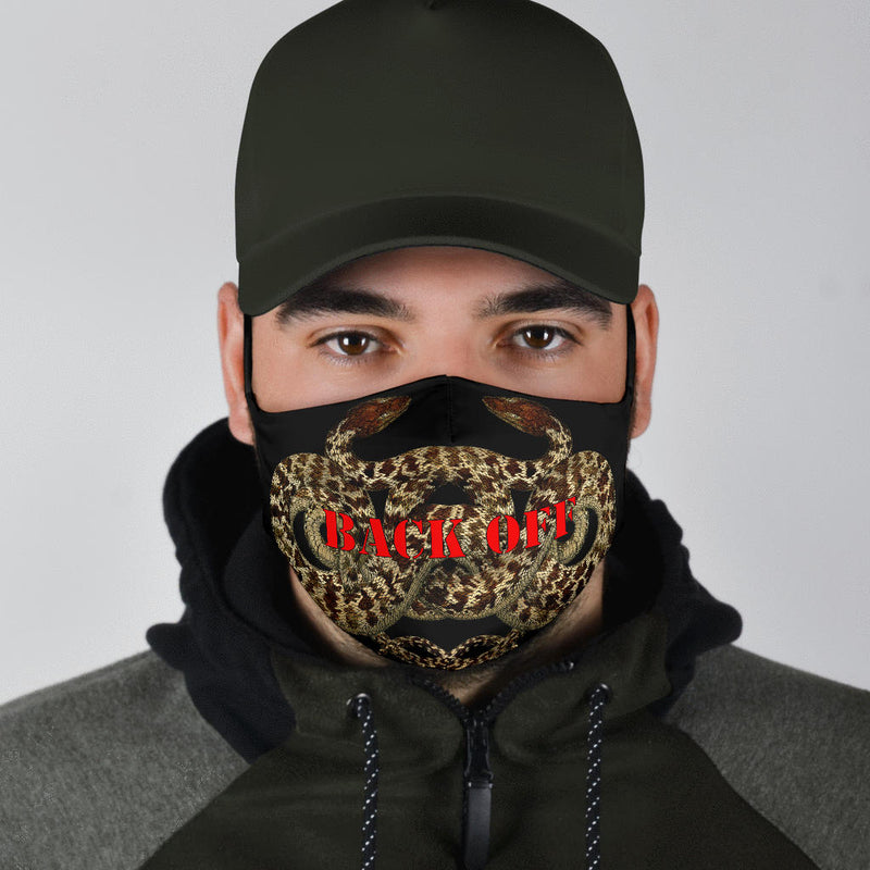 back off covid face mask with snakes