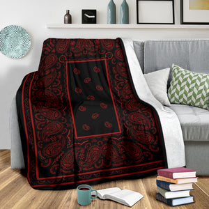 Black with Red Bandana Fleece Throw Blanket