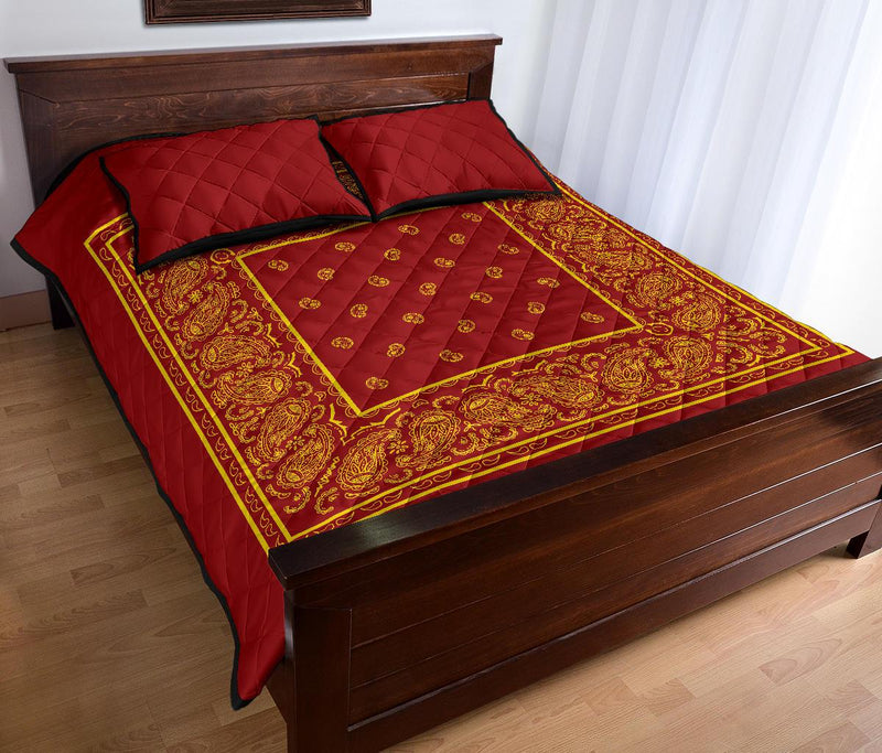 King Red and Gold Bandana Bed Quilts with Shams