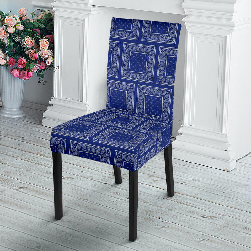 Royal Blue Bandana Dining Chair Covers - 4 Patterns