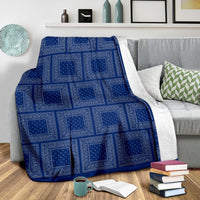 Ultra Plush Blue Gray Bandana Patch Throw Blanket
