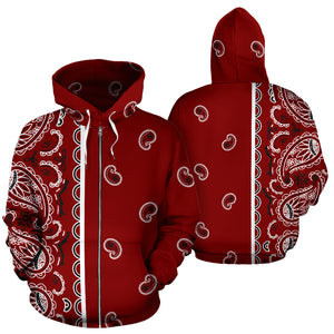 maroon red bandana zip up hoodies