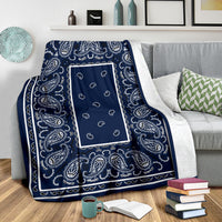 Fleece Royal Blue Bandana Throw Blanket
