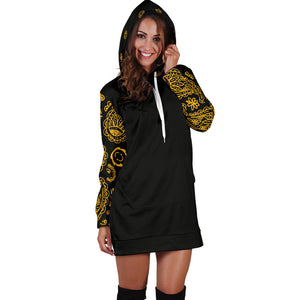 Black Gold Bandana Hoodie Dress with hood up