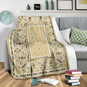 Ultra Plush Khaki Bandana Throw Blanket
