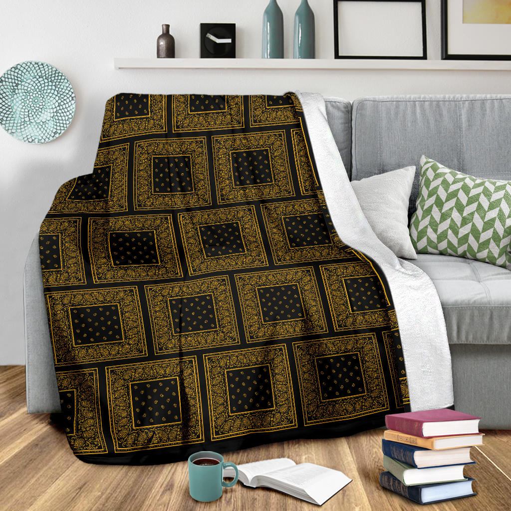 Ultra Plush Black Gold Bandana Patch Throw Blanket
