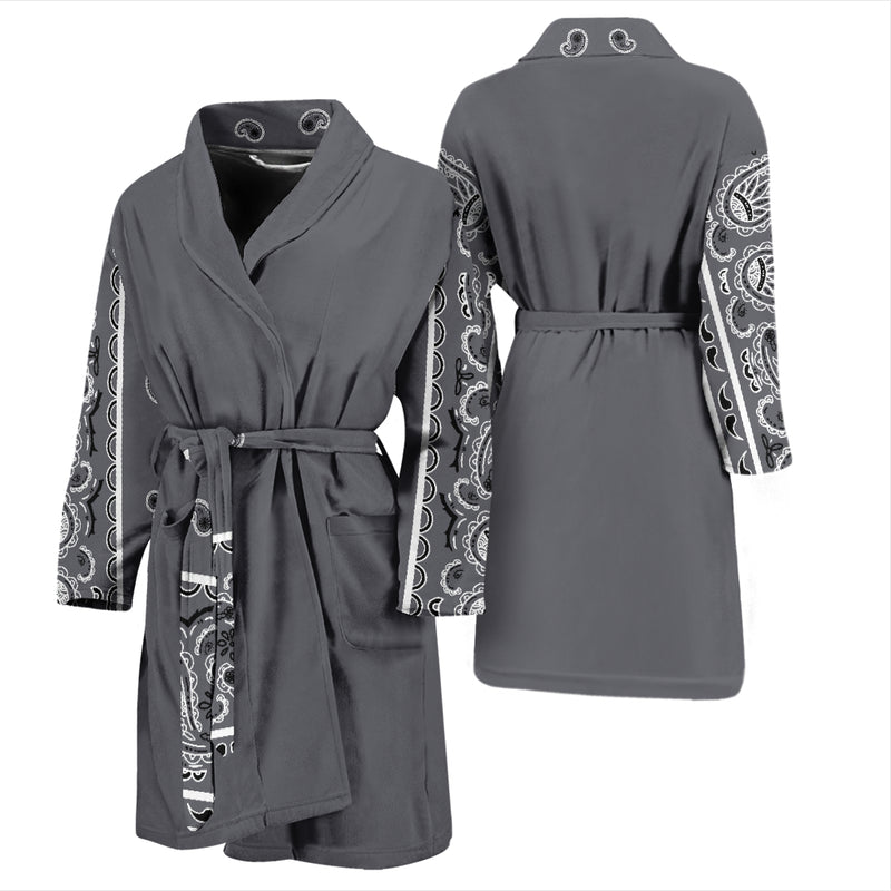 gray bandana print bathrobe