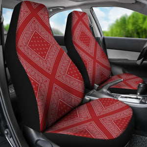red and gray bucket seat covers