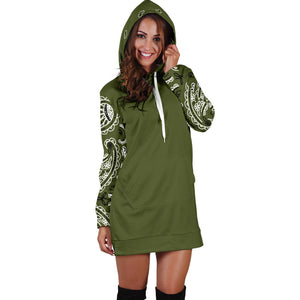 Army Green Bandana Hoodie Dress front