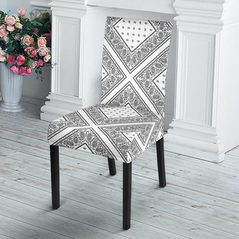 White Bandana Dining Chair Covers - 4 Patterns