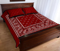 maroon red bandana quilt bedding set