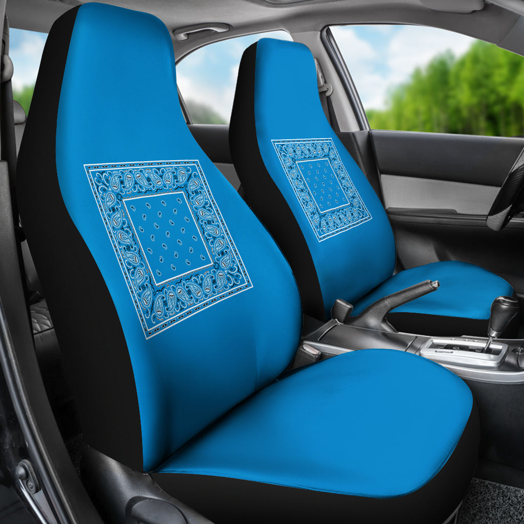 Sky Blue Bandana Car Seat Covers - Minimal