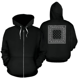 black bandana zip hoodies