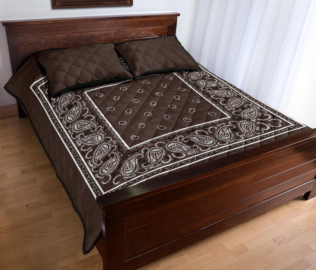 brown bandana bedroom quilt set
