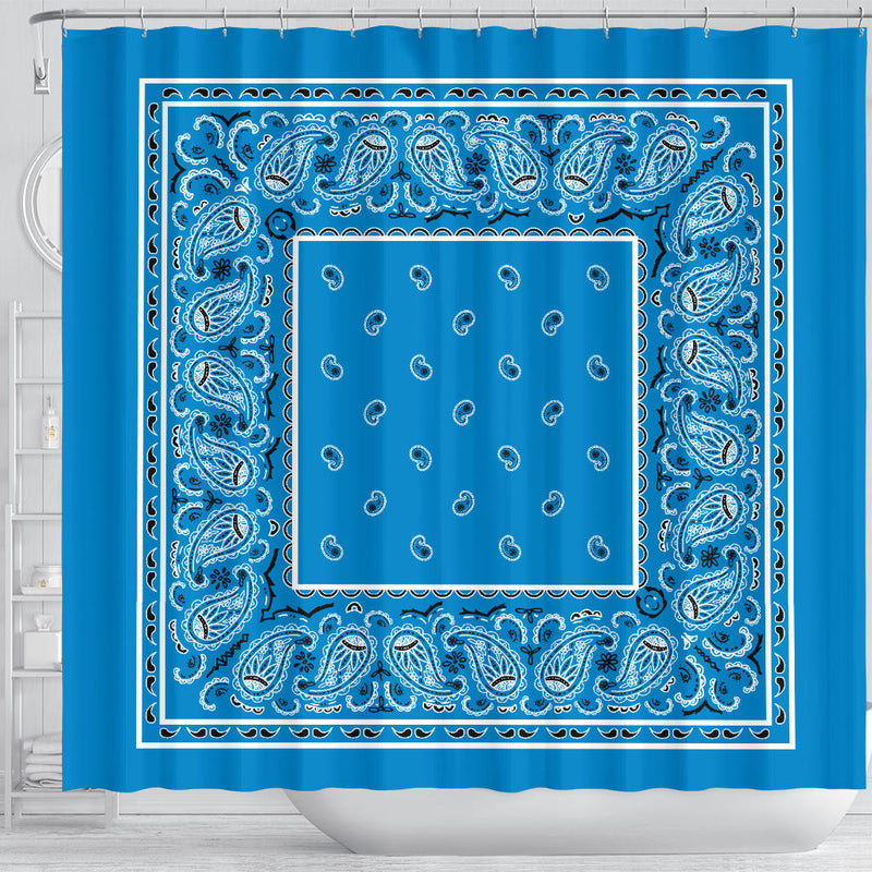 Sky Blue Bandana Shower Curtain