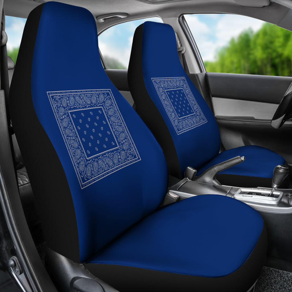 Blue and gray seat cover