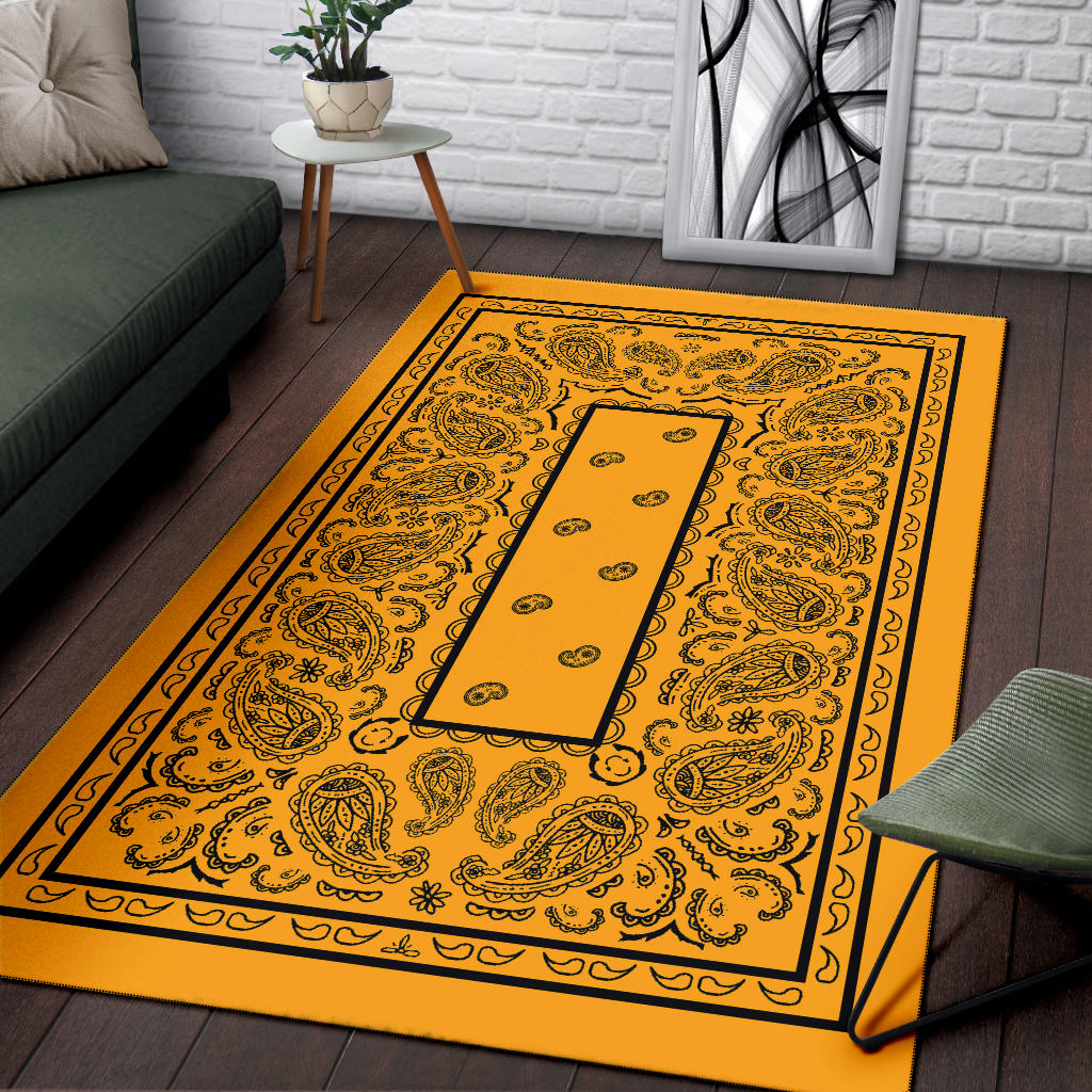gold bandana throw rug