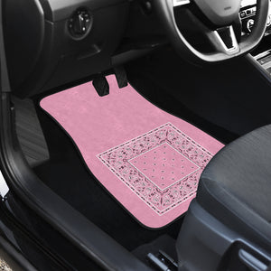 Dual Light Pink Bandana Car Mats - Minimal