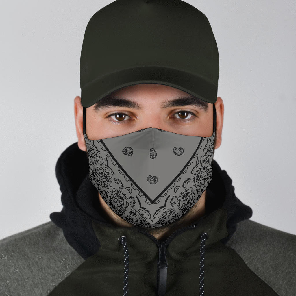 gray bandana covid masks for men