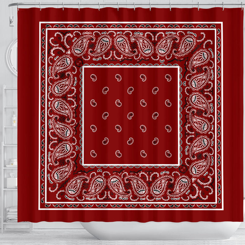 Maroon Red Bandana Shower Curtain