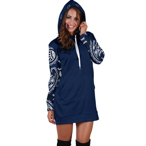 Navy Blue Bandana Print Hoodie Dress Front