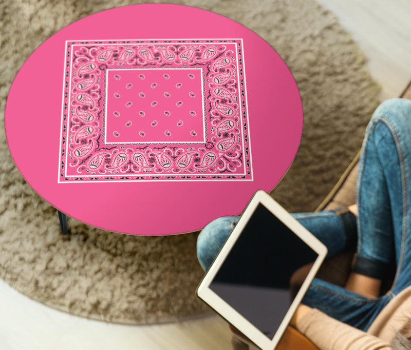 Pink Bandana Round End Table