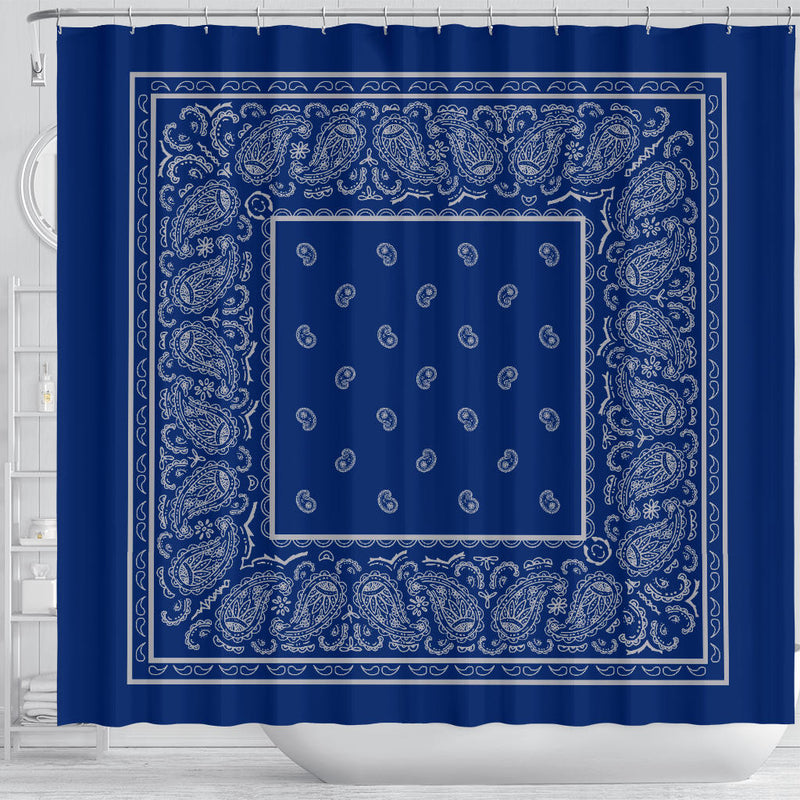 Blue and Gray Bandana men's bathroom decor