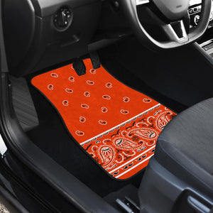 Dual Perfect Orange Bandana Car Mats - Fancy