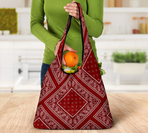 Maroon Red Bandana Reusable Grocery Bag 3-Pack