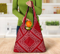 Classic Red Bandana Reusable Grocery Bag 3-Pack