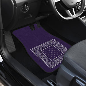 Dual Royal Purple Bandana Car Mats - Minimal