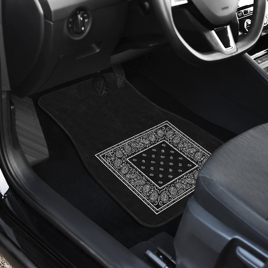 Quad Black Bandana Car Mats - Minimal