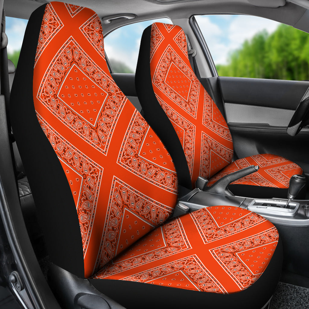 Orange bucket seat car covers