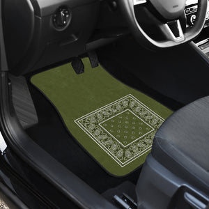 Quad Army Green Bandana Car Mats - Minimal