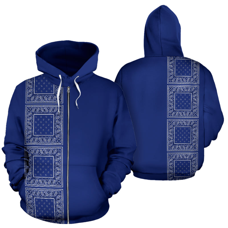 royal blue bandana zip up hoodies