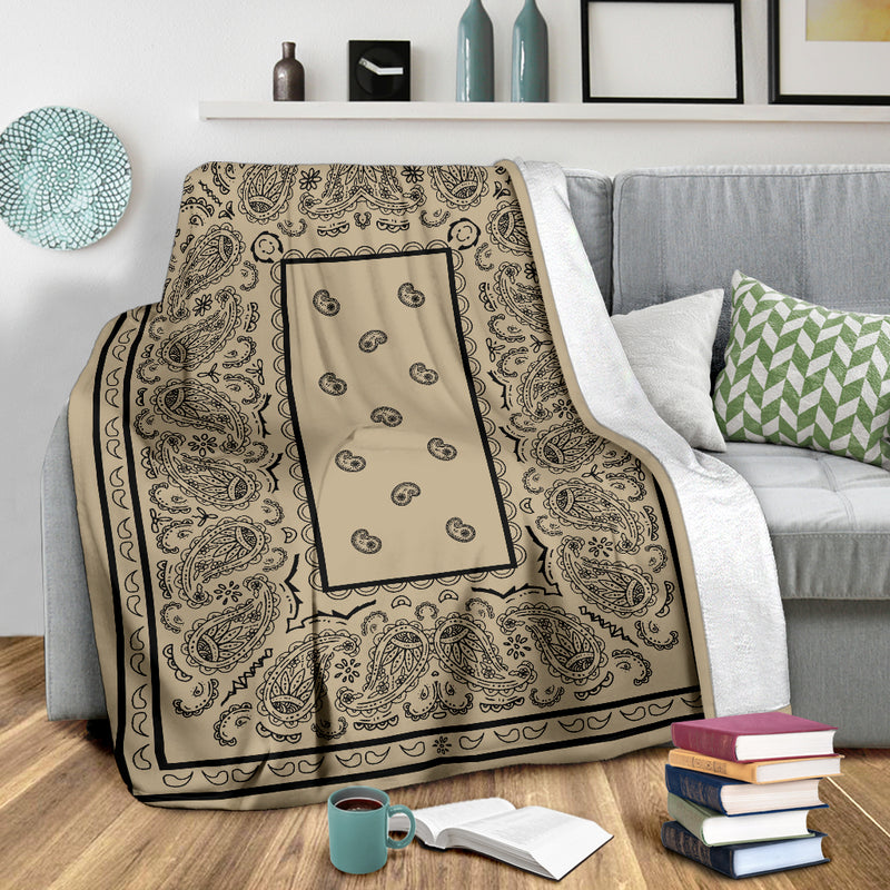 Ultra Plush Khaki and Black Bandana Throw Blanket