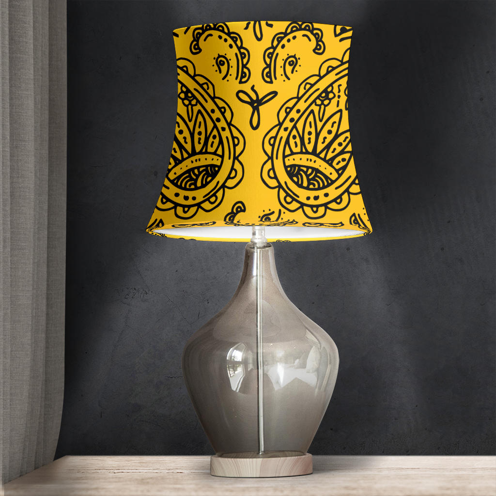 Gold and Black Paisley Drum Lampshade