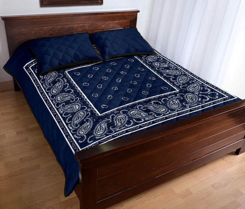 Navy Blue Bandana Bed Quilts with Shams