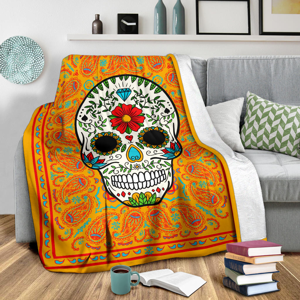 Pumpkin Sugar Skull Fleece Blanket