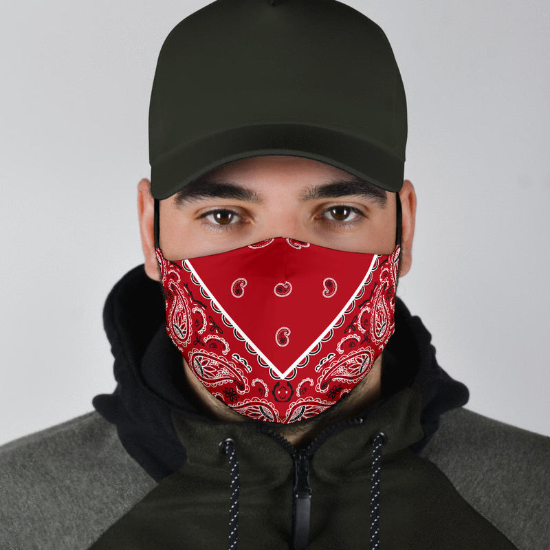 Adjustable Classic Red Bandana Face Mask with 5 Layer Filters