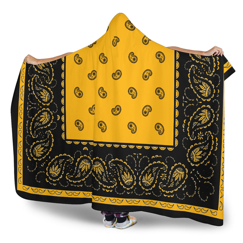 Ultimate Gold with Black Bandana Hooded Blanket