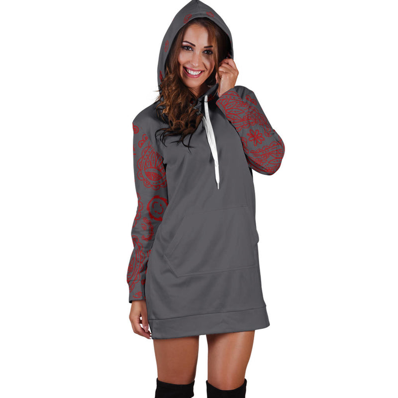Gray and Red Bandana Hoodie Dress front