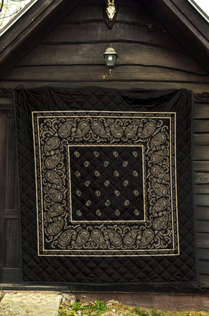 Black and Khaki Bandana Bed Quilts