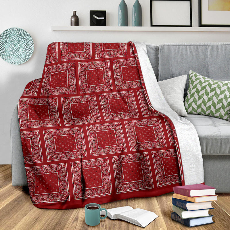 Ultra Plush Classic Red Bandana Patch Throw Blanket