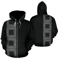 Black Bandana Zip Up Hoodie