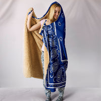 Royal Blue Bandana Hooded Blanket