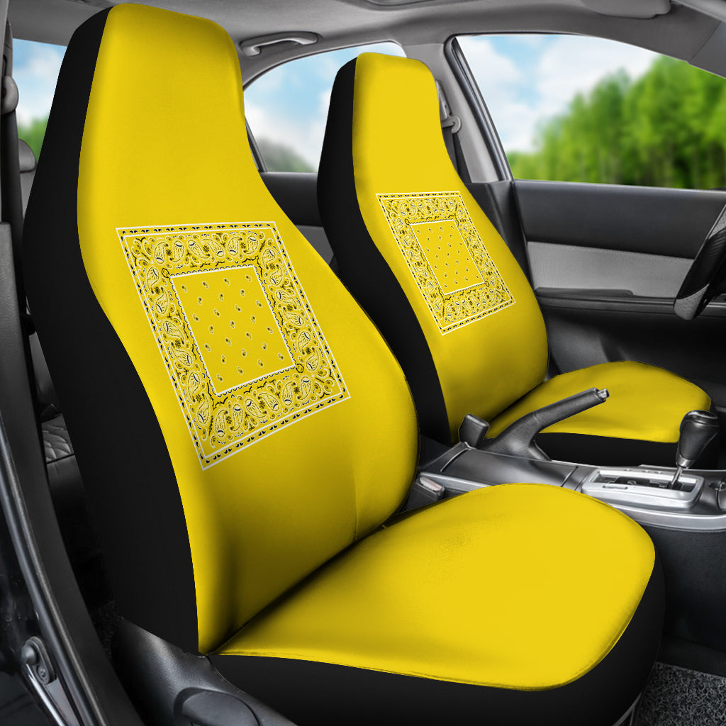 Sunshine Yellow Bandana Car Seat Covers - Minimal